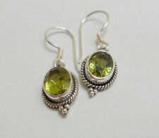 Delicate Natural Green Peridot Dangle Sterling Silver Earrings Handmade in Bali