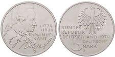 GERMANIA REPUBBLICA FEDERALE 5 MARK 1974 D IMMANUEL KANT ARGENTO SILVER RARA