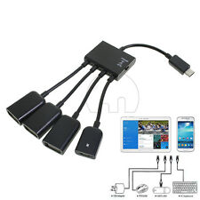 4In1 Micro USB Power Charging Host OTG Hub Adapter Cable for Samsung S3 S4 S5 UK