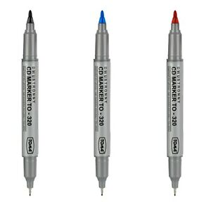 CD Marker Pens Permanent Writting Pen Double Thick Fine Tip Black Red Blue