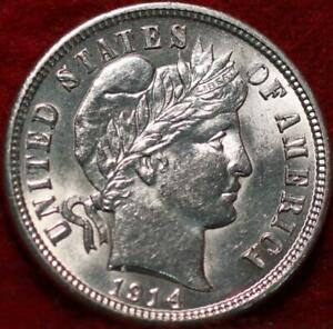 Uncirculated 1914-D Denver Mint Silver Barber Dime
