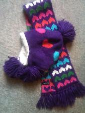 New Gap Fur Lined Sweater Hat Scarf Purple Set Lot Girl L/Xl 5 6 7 8 9 10 12