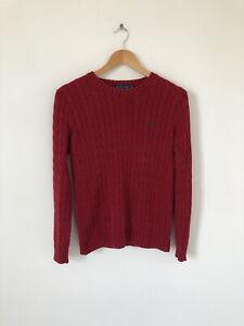 Womens Ralph Lauren Red Cable Knit Jumper Sweater Crew Neck Size Medium