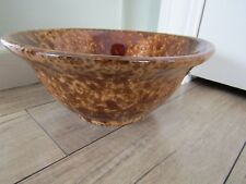 Vintage Rockingham Bennington Yellow Ware Pottery Bowl 10""