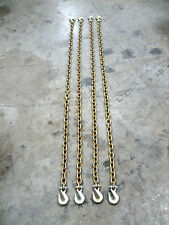 "(4) 3/8""x 8' Grade 70 Transport Chains - MADE IN USA. With G70 Grab hooks"