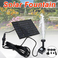 Solar Fountain Water Pump Panel Garden Pond Pool Submersible Watering Kit 180L/H