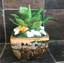 Artificial Green Grass Succulent Planter in a Satsuma Bowl with Geishas