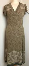 T Tahari Animal Print Wrap Jersey Stretch Dress Contrast Sheer Hem Large A24
