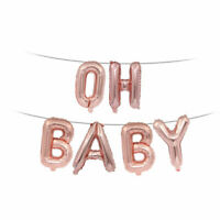 OH BABY BANNERS PARTY DECORATIONS BOY GIRL ROSE GOLD BALLOONS BUNTING