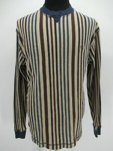 M9385 VTG Guess USA One Point Vertical Striped Pullover Sweatshirt Size XL