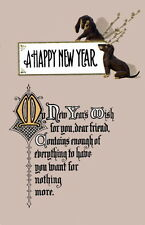 Vintage New Year Greetings to Friend~Dachshund Puppy Dogs~New Large Note Cards