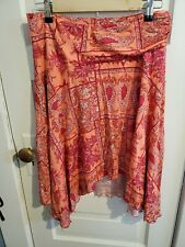 Mimi Maternity Elastic Waist Skirt, Pink Paisley , Size Small