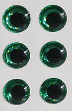 X6 yeux 3D autocollant 5 mm coloris vert pupille ronde noire