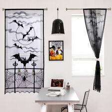 Black Halloween Lace Window Curtain Spider Web Bats Door Curtain Panel Decor