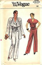 "Very Easy Vogue Pattern Women's WRAP BLOUSE PANTS & JACKET 9164 Sz 18 B40"" UNCUT"