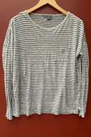 Vince Top Small Gray Black Striped Crewneck Tee Shirt Long Sleeve Linen Knit