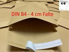 1000 Stück Faltentasche DIN B4 mit 4 cm Klotzboden Braun 140 g/qm Kraftpapier