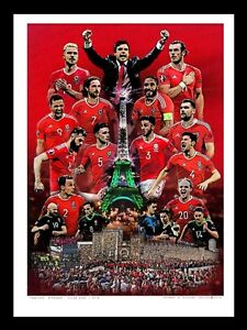WALES FOOTBALL EURO 2016 - TOGETHER STRONGER - ART MONTAGE PRINT