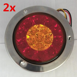 LED 12V Round Car Trailer RV Tail Light Turn Signal Brake Backup Red Yellow Lamp