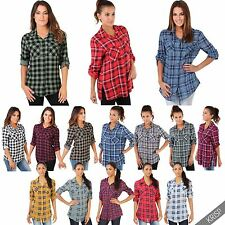 Viscose Collared Checked Tops & Shirts for Women