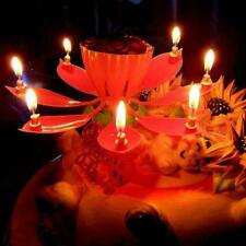 1X Lotus Flower Candle Musical Blossom Candles Happy Birthday Party Gift Sale-,
