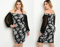 Womens Ladies Floral Bardot Off The Shoulder Bodycon Dress size 14 16 18 20