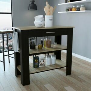 Kitchen Island - Natural Finish Top and Two Open Storage Shelves in Black Finish