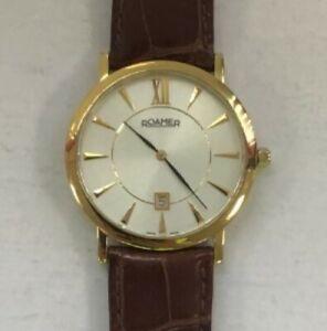 Mens Gold Tone Swiss Made Roamer Quartz Movement Wristwatch New Battery #972