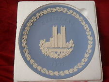 Wedgwood 8 Inch Christmas Plate 1977 Westminster Abbey Blue and White Jasper