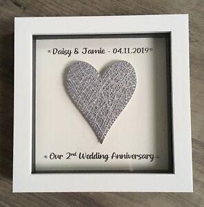 2nd COTTON Wedding Anniversary Personalised Box Frame Grey heart keepsake