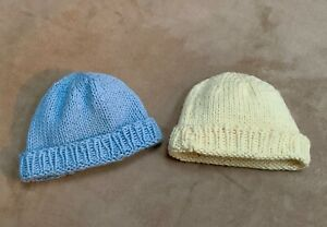 2 Handmade Handcrafted Knit Baby Boy Beanie Hat Cap Infant 0-6 month Blue Yellow