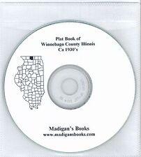 Winnebago Co Illinois IL 1930's  Atlas  plat book genealogy  land owners CD