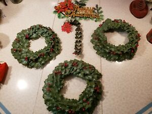 LOT OF VINTAGE PLASTIC HOLLY CHRISTMAS WREATHS, CANE, POINSETTA  DECORATIONS