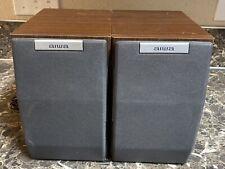 Aiwa SX-M200 Bookshelf 3-WAY Speakers Vintage Pair Built In Subwoofers Used