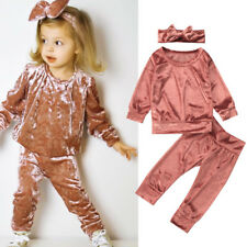 Spring Newborn Baby Girls Sweatshirt Outfits Cloths Velvet Tops+Pants Set 0-24M