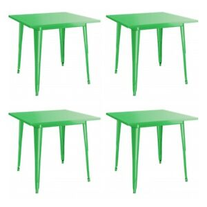 """4 PACK 32"""" Square Green Metal Patio Restaurant Dining Table For Outdoor Use"""
