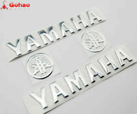 Set Silver Petrol Tank Badge 3D Emblems Fairing Body Decals Stickers For Yamaha