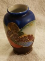 "Vintage Satsuma Moriage Small Occupied Japan Bud Vase Urn 4 "" tall."