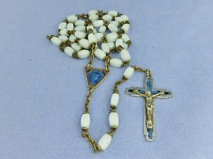 Vintage / Antique? White Glass Beaded Rosary with Clear Blue Enamel