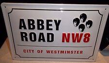 "ABBEY ROAD/BEATLES , LONDON,  EMBOSSED (3D)  VINTAGE-STYLE METAL  SIGN, 12""X 8"""