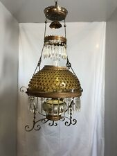 DATED 1892 VICTORIAN HANGING PARLOR OIL LAMP WITH PRISMS & AMBER HOBNAIL SHADE!!