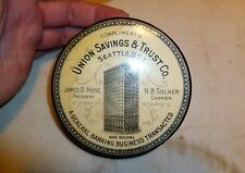 Vtg Antique Seatle WA Hoge Building Advertising Boot Brush - Union Savings & Tru
