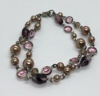 "Vintage Bracelet 7.5"" Rhinestone Faux Pearls Pink Purple"