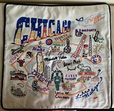 "Catstudio Cat Studio Chicago Hand Embroidered 20"" Pillow Cover Of Organic Cotton"