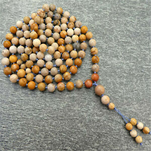 Fashion Natural Fossil Coral 108 Beads Tassels Necklace Yoga Fancy Meditation