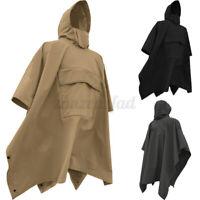 Herren Regenmantel Wasserdichte Kapuze Abdeckung Regenbekleidung Poncho Jacken