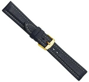 Bio-Leder Ersatzband Uhrenarmband XL Kalbsleder Dunkelblau 25647G