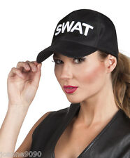 Ladies Mens Police Swat Black Embroidered Baseball Cap Fancy Dress Costume Hat