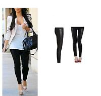 NEW WOMEN'S WET LOOK PVC SIDE PANEL FAUX LEATHER LEGGINGS BOTTOM PANTS SIZE 8-20