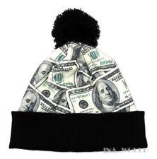 Pom Beanie hat cap Hundred dollar Money Bill Black Cuffed Winter skull cap
